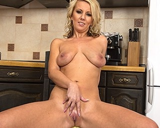 Naughty blonde mom playing with herself