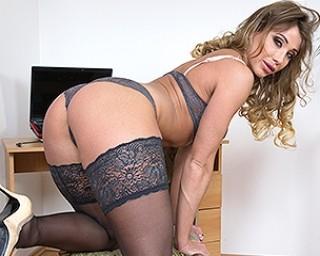 Steamy hot mom masturbating in her living room