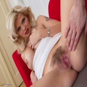 Hairy blonde MOM getting the POV treatment